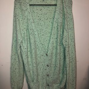 H&M mint oversized button up cardigan sweater